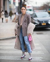 coat,teddy bear coat,grey coat,long coat,sneakers,socks,cropped jeans,plaid blazer,double breasted,sweater,pink bag,balenciaga