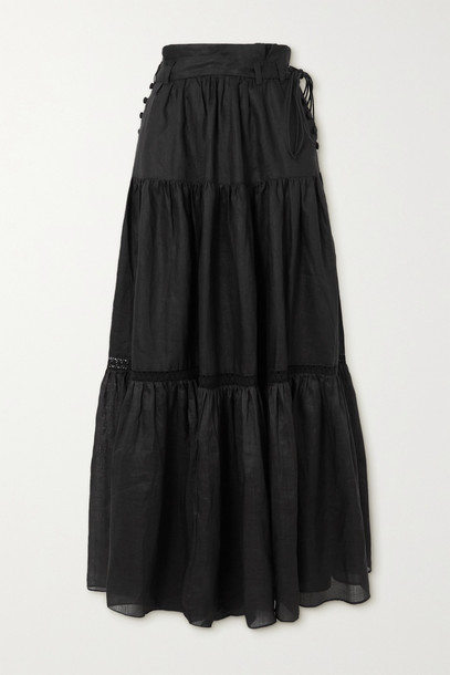 JOSLIN - + Net Sustain Florence Belted Tiered Linen And Ramie Maxi Skirt - Black