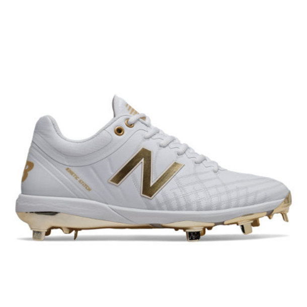 New Balance 4040v5 Hole in the Wall Gang Men's Baseball Shoes - White/Gold (L4040WG5)