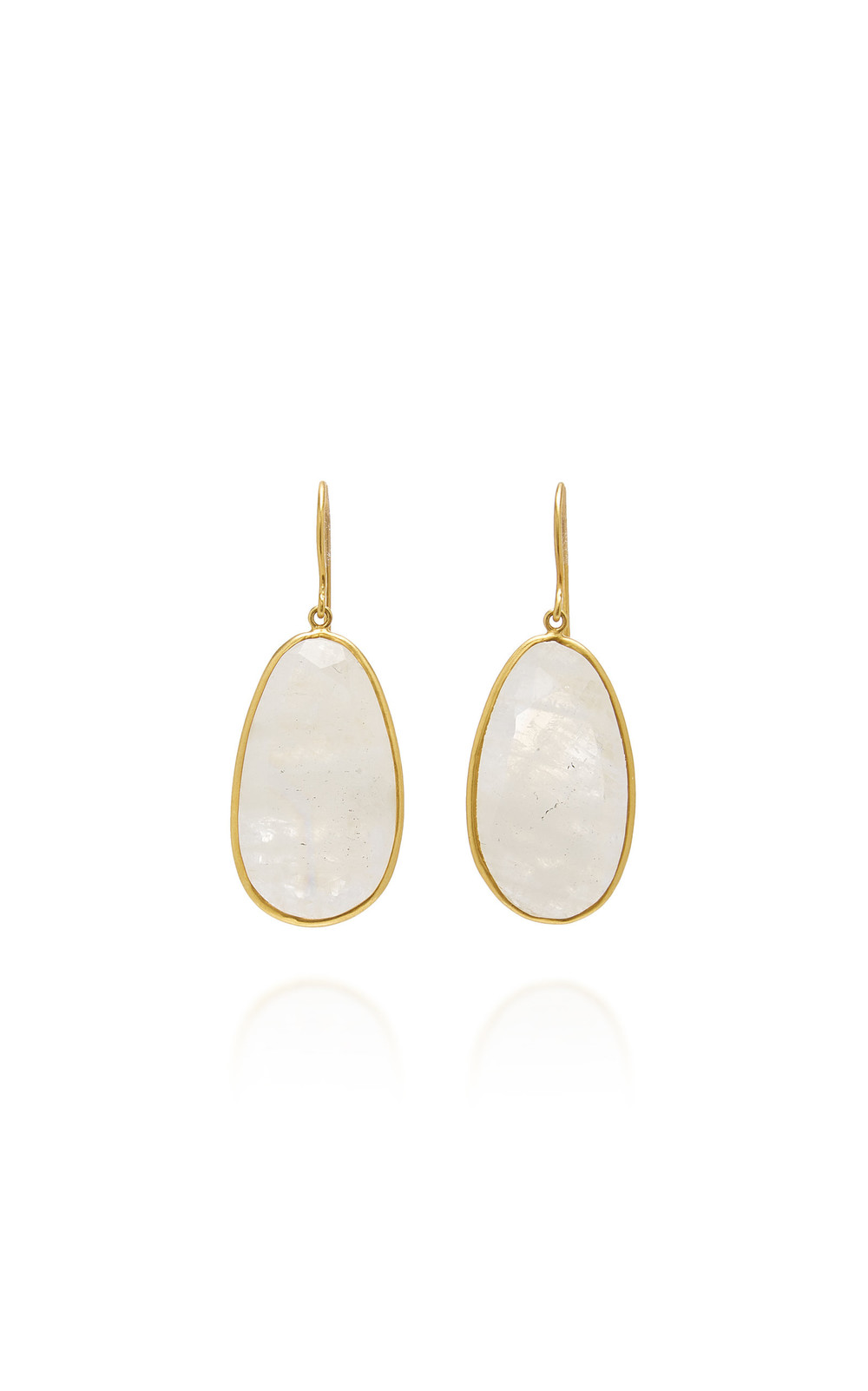 Pippa Small First Frost Medium Single Drop Earrings In Rainbow Moonstone in white