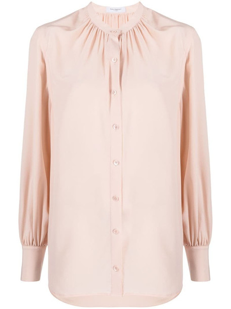 Equipment silk mandarin collar shirt in pink