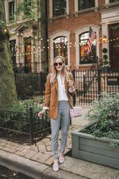 kelly in the city - a preppy chicago life,style and fashion blog,blogger,pants,jacket,shoes,bag,t-shirt,shirt,blazer,loafers,grey pants