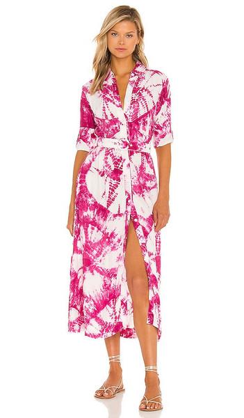 SWF Long Sleeve Shirt Dress in Pink in magenta