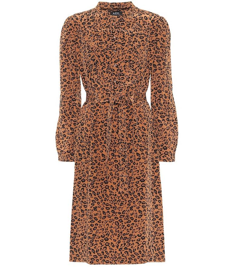 A.P.C. Lio leopard-print silk midi dress in beige