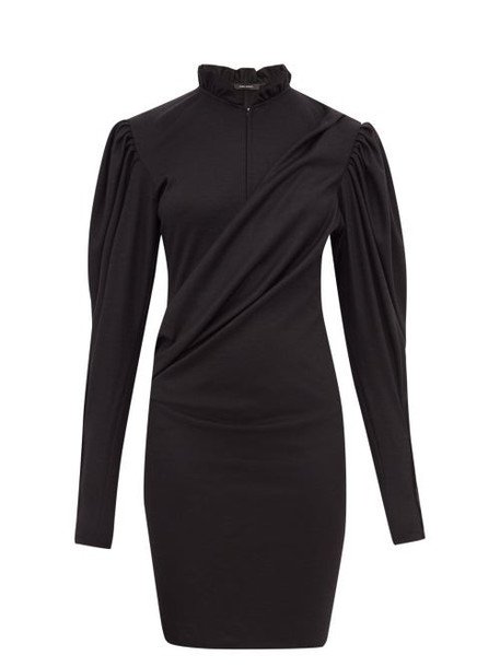 Isabel Marant - Divya Puff Sleeve Ruched Wool Jersey Dress - Womens - Black