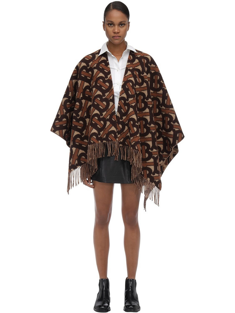 BURBERRY Merino Wool & Cashmere Knit Poncho in brown