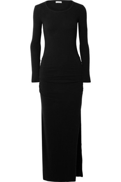 James Perse - Ruched Brushed Cotton-blend Jersey Maxi Dress - Black