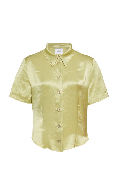 Nanushka Clare Lime Buttoned Down Collared Shirt Size: S in green