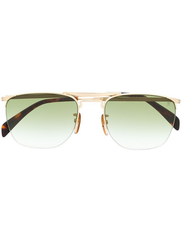 Eyewear by David Beckham half frame squared sunglasses in gold
