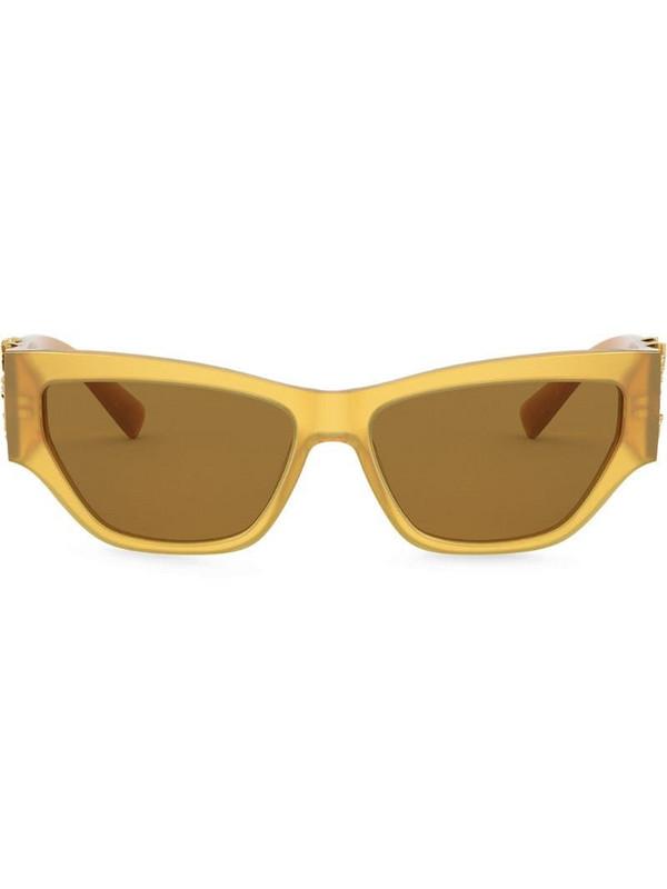 Versace Eyewear Virtus plaque rectangular-frame sunglasses in yellow