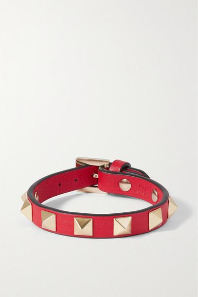 VALENTINO - Valentino Garavani Rockstud Textured-leather Bracelet - one size in red