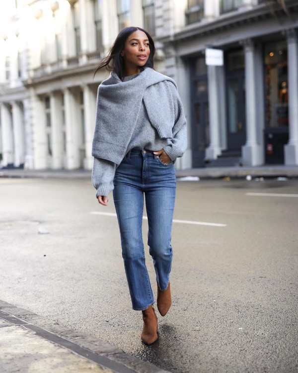 jeans cropped jeans ankle boots grey sweater