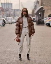 pants,leather pants,white pants,high waisted pants,black boots,ankle boots,brown bag,brown jacket,puffer jacket,turtleneck sweater,sunglasses
