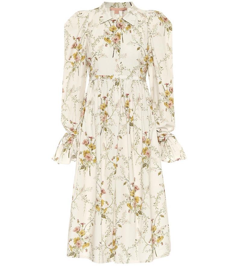 Brock Collection Romilda floral cotton-poplin midi dress in white