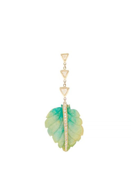 Jacquie Aiche - Diamond, Opal & Gold Single Palm Earring - Womens - Blue