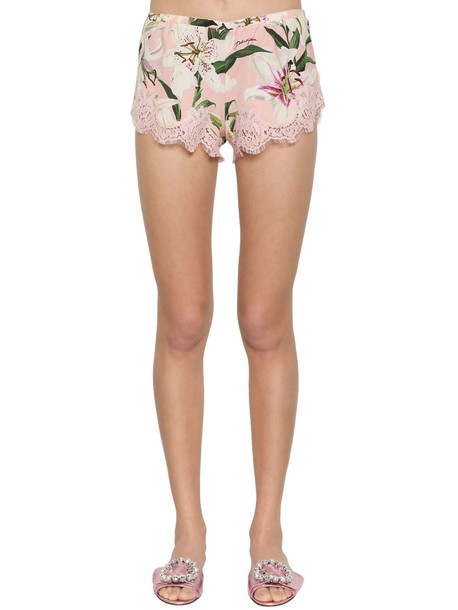 DOLCE & GABBANA Stretch Lace Charmeuse Shorts in pink / multi