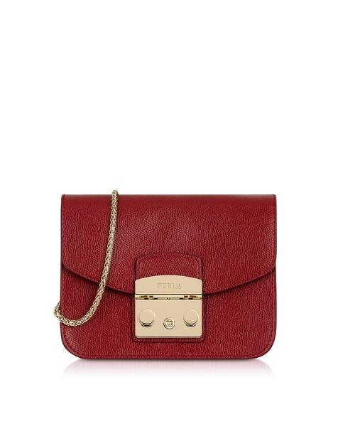 Furla Cherry Leather Metropolis Mini Crossbody Bag