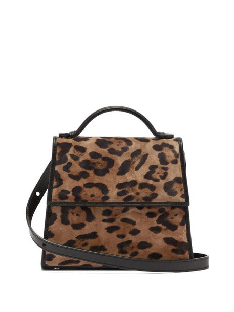 Hunting Season - Top Handle Small Leopard Print Suede Bag - Womens - Dark Brown