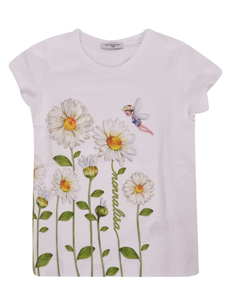 Monnalisa Floral Embroidered T-shirt in white