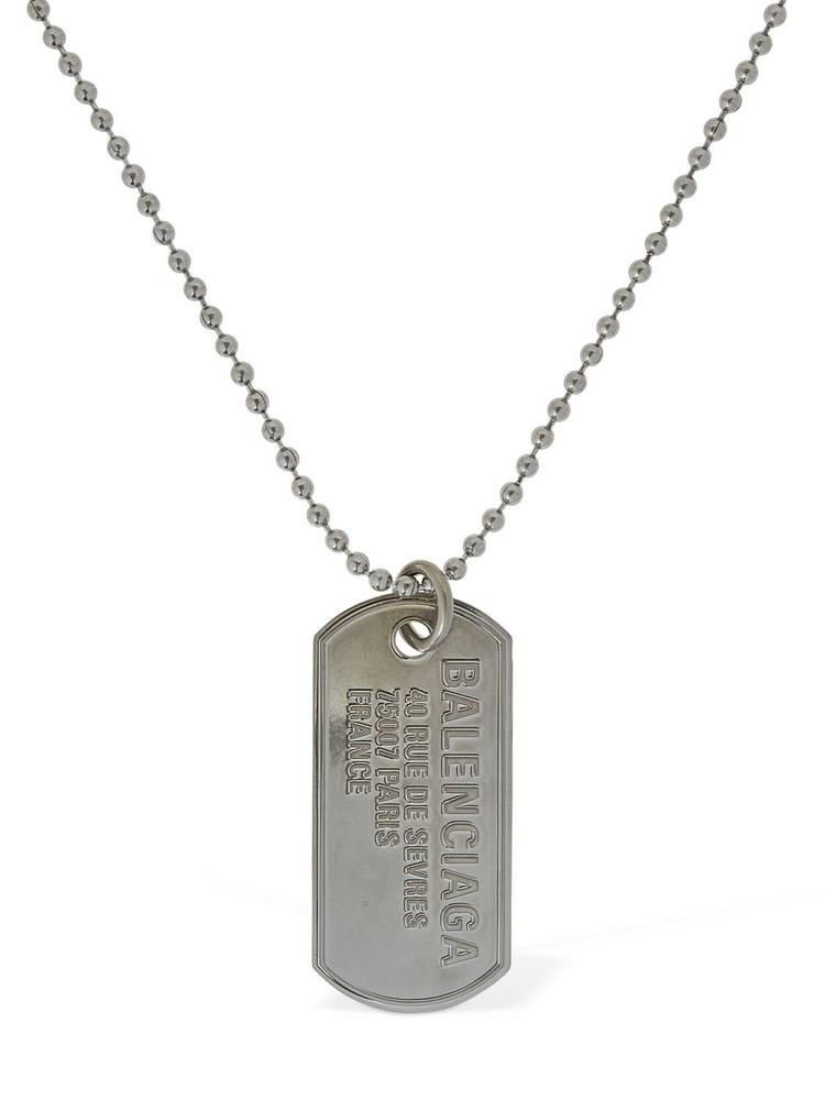 BALENCIAGA Military Tag Logo Necklace in silver
