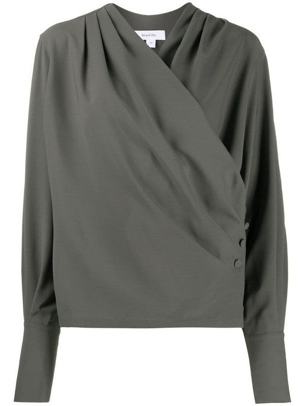 Beaufille buttoned wrap-style blouse in green