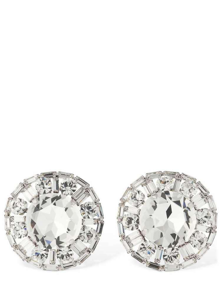 ALESSANDRA RICH Crystal Circle Clip-on Stud Earrings in silver