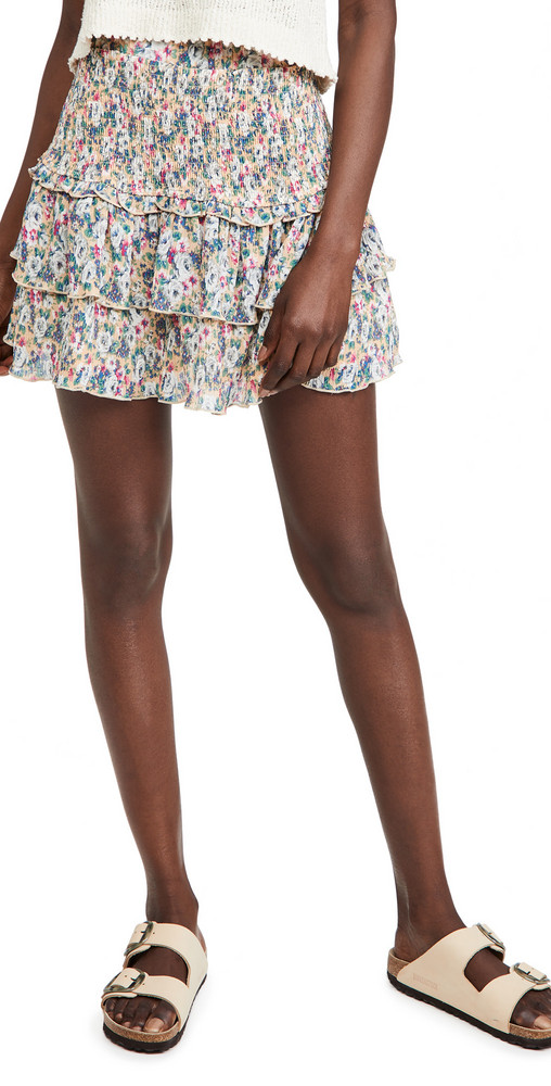 ENGLISH FACTORY Floral Pleated Skirt in multi / beige
