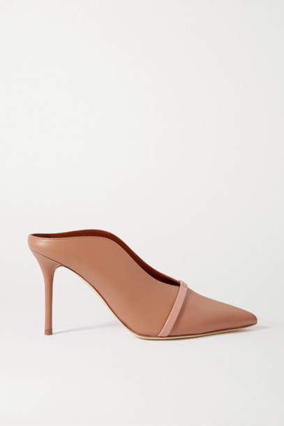 Malone Souliers - Constance 85 Smooth And Patent-leather Mules - Neutral