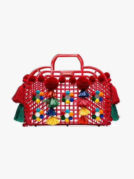 Dolce & Gabbana Red Gomma + Ricamo pom-pom embellished leather trim tote bag