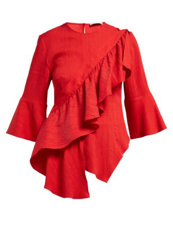Palmer/harding Palmer//harding - Sash Ruffled Plissé Blouse - Womens - Red