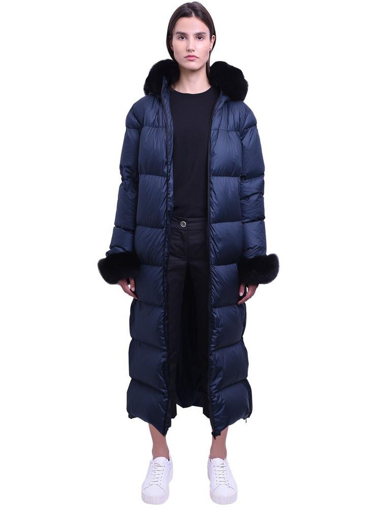 MR & MRS ITALY Long Nylon Down Jacket W/fox Fur in black