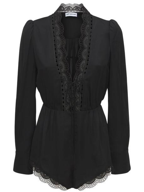 SELF-PORTRAIT Viscose Playsuit W/ Lace Details in black
