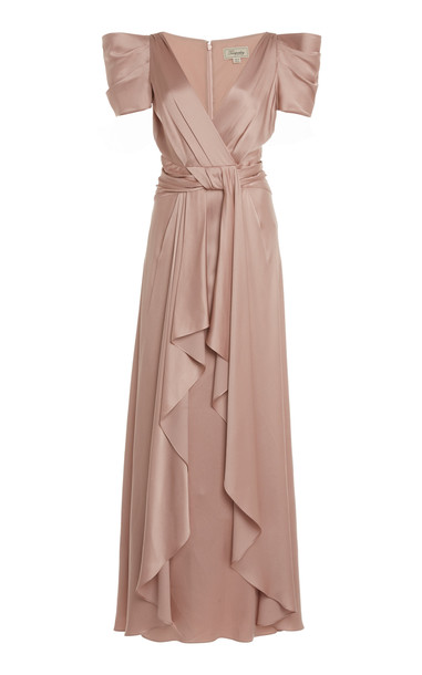 Temperley London Brigitte Draped Satin Maxi Wrap Dress in pink
