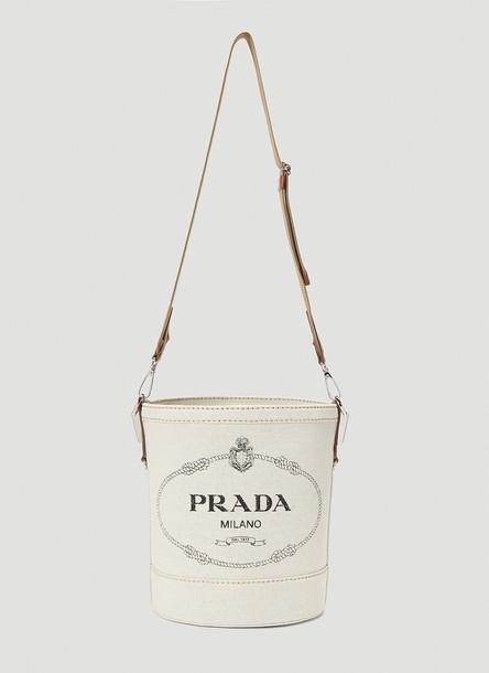 Prada Logo-Print Canvas Bucket Bag in Beige size One Size