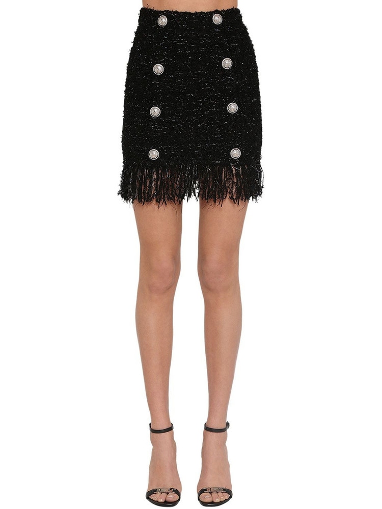 BALMAIN Fringed Lurex Tweed Mini Skirt in black