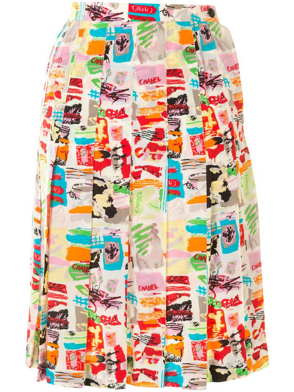 Chanel Pre-Owned 1997 abstract print pleated skirt