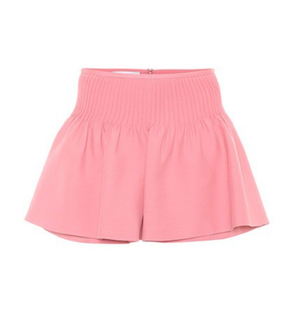 Valentino Wool and silk crêpe shorts in pink
