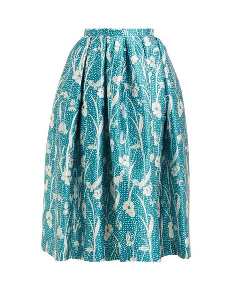 Rochas - High Rise Floral Print Satin Midi Skirt - Womens - Blue Multi