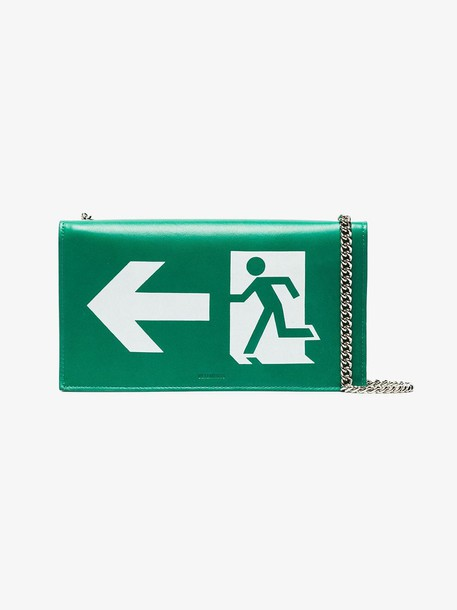 Vetements Green exit sign leather bag