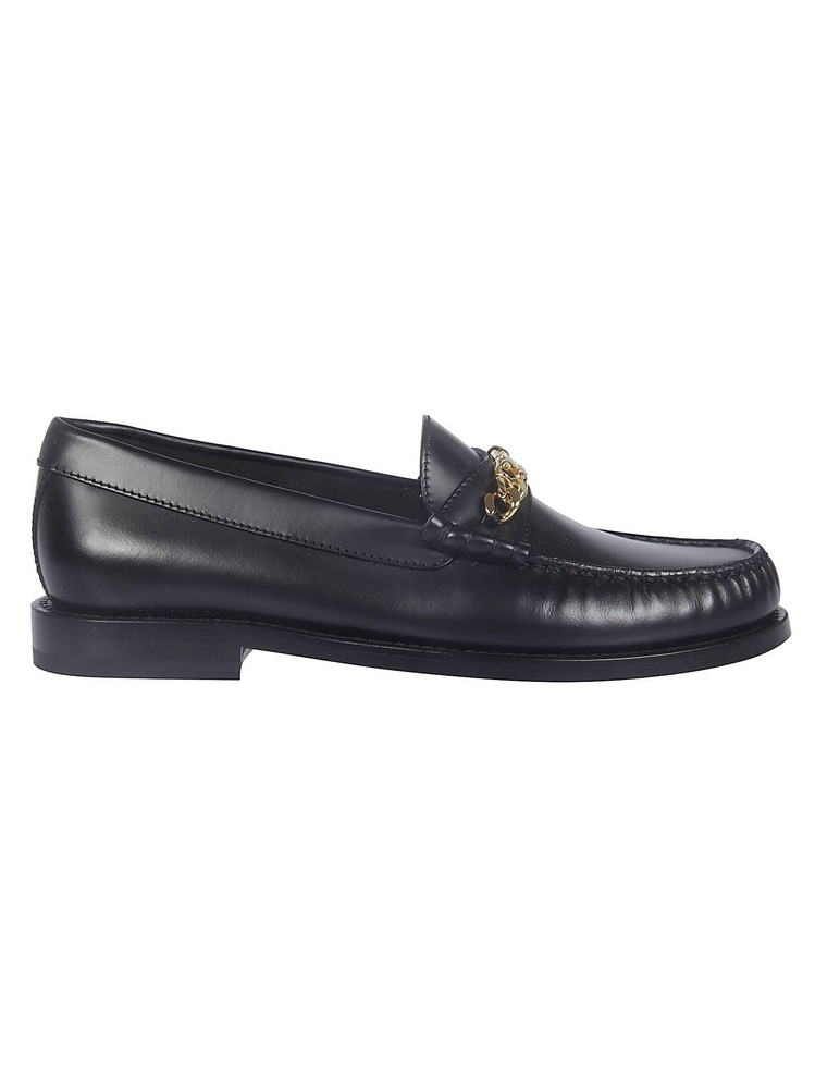 Celine Chain Triomphe Loafers in black