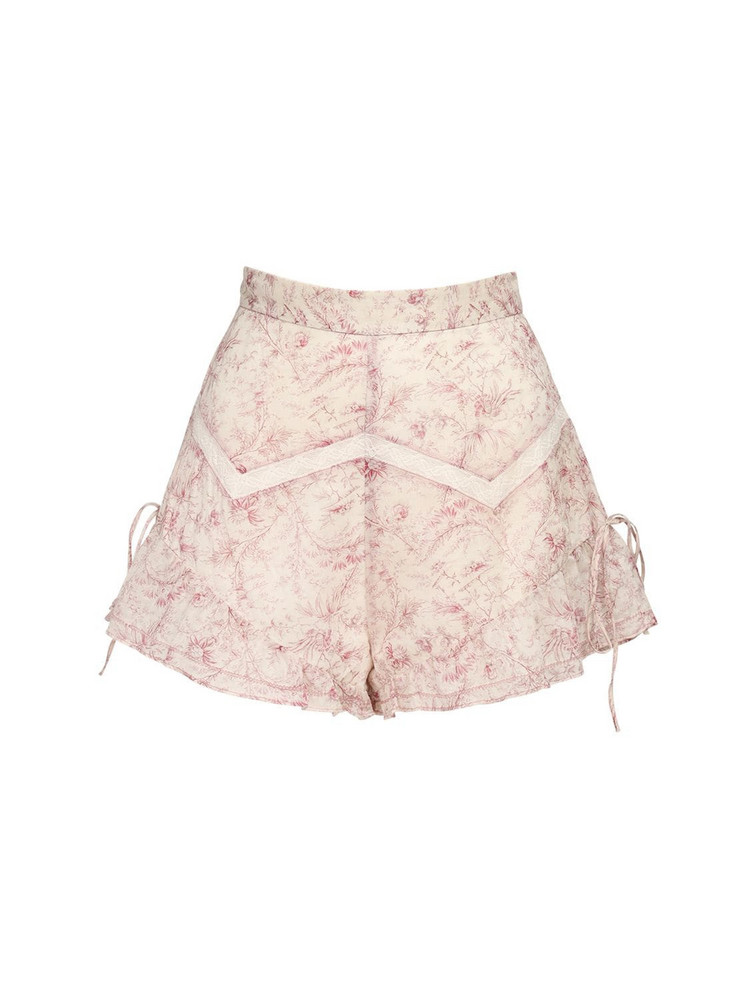 SIR THE LABEL Caprice Ruffled Cotton & Linen Shorts in pink / white