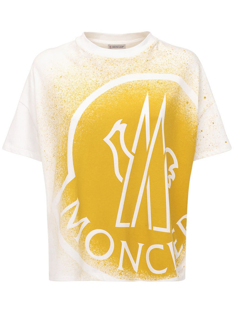 MONCLER Bleached Logo Jersey T-shirt in white / yellow