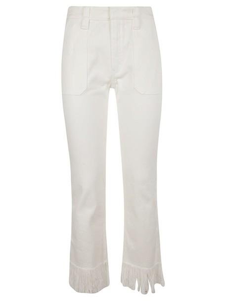 Chloé Chloé Fringe Trimmed Jeans in white