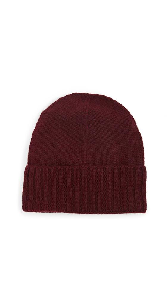 Hat Attack Cashmere Slouchy Cuff Hat in burgundy