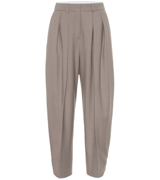 See By Chloé Wool-blend high-rise tapered pants in beige