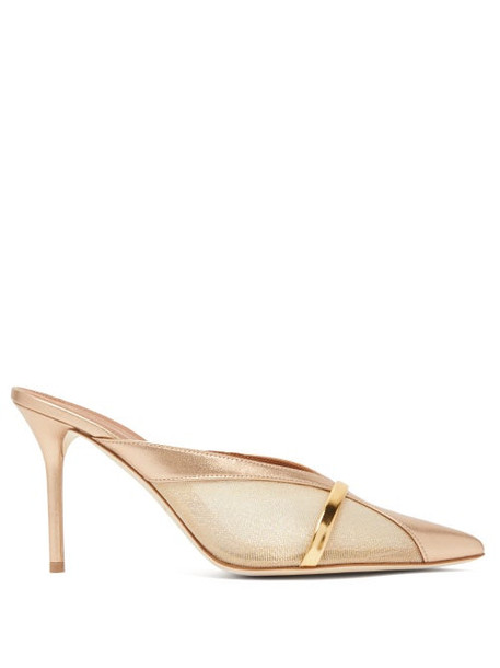 Malone Souliers - Bobbi Panelled Mesh Leather Mules - Womens - Gold