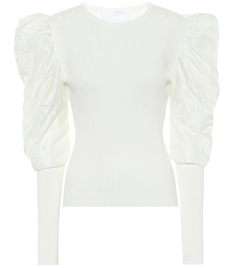 Costarellos Maura ribbed-knit top in white