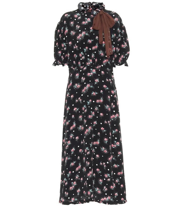 Miu Miu Floral silk midi dress in black