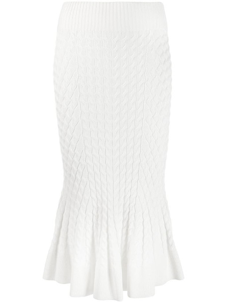 Alexander McQueen knit trumpet midi skirt in white