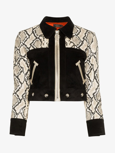 De La Vali Vito Cropped Leather Jacket in black
